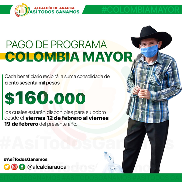 Inicia pago del programa Colombia Mayor